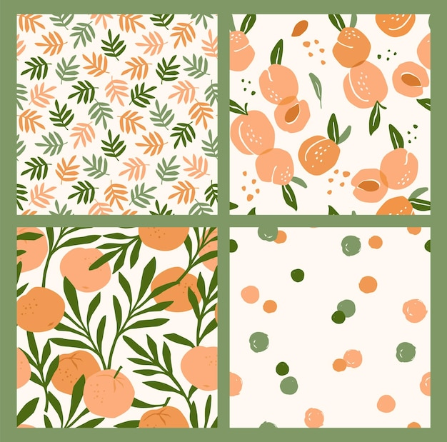 Abstracte verzameling van naadloze patronen met abrikozen en sinaasappels.
