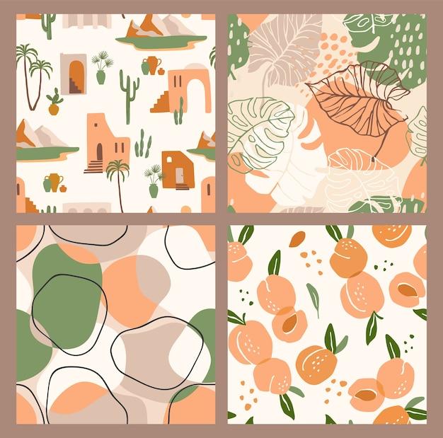 Abstracte verzameling van naadloze patronen met abrikozen, landschap, bladeren en geometrische vormen.
