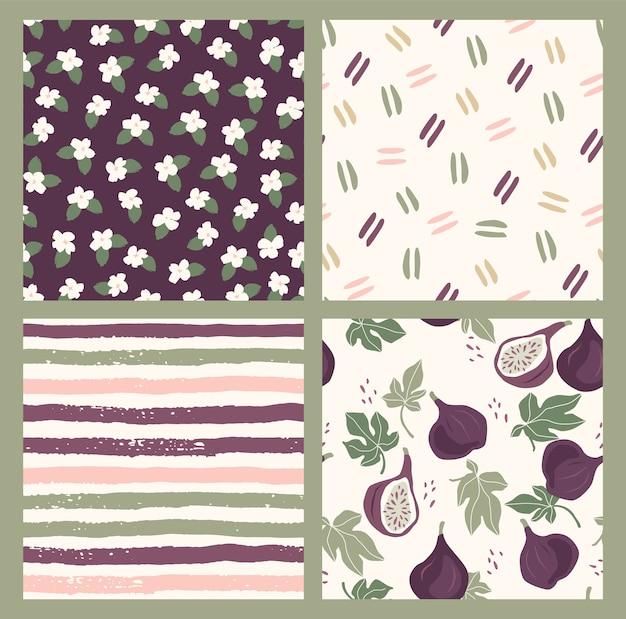 Abstracte verzameling van naadloze patronen met bloemen, vijgen, strepen en geometrische vormen. modern ontwerp voor papier, omslag, stof, interieur en andere gebruikers.