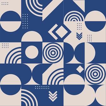 Abstracte vierkante tegels met cirkelachtergrond in beige en blauwe kleur.