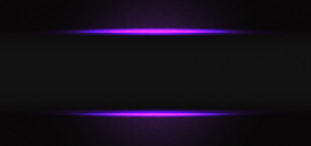 Abstracte violet lichte lijn grijze schaduw lege banner op donkere zeshoek mesh ontwerp moderne futuristische achtergrond.