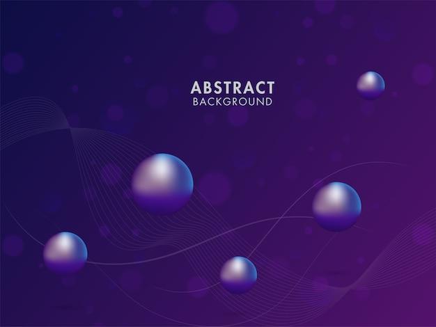 Abstracte violette achtergrond met beweging golvende lijnen en 3d-ballen