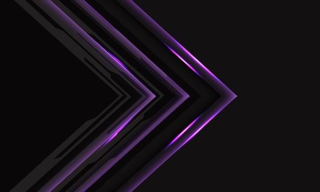 Abstracte violette cyber zwarte circuitpijl op donkergrijs met leeg ruimteontwerp modern futuristisch