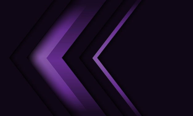 Abstracte violette pijl richting geometrische schaduw op grijs ontwerp moderne futuristische achtergrond