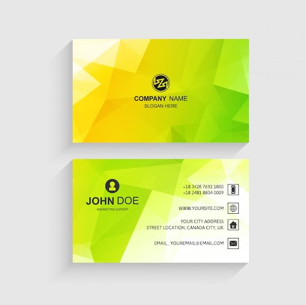 Abstracte visitekaartje ingesteld sjabloon met kleurrijke veelhoek desogn