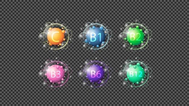 Abstracte vitaminen geïsoleerde pictogrammen