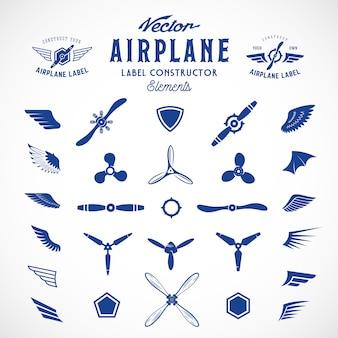 Abstracte vliegtuig etiketten of logo's constructie-elementen. geïsoleerd
