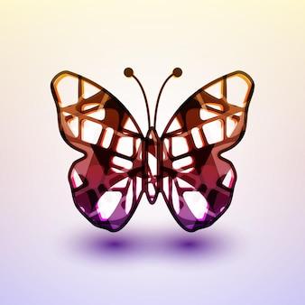 Abstracte vlinder, futuristische kleurrijke illustratie