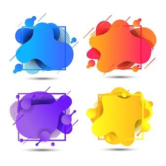 Abstracte vloeibare kleurrijke banners instellen Premium Vector