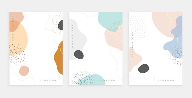 Abstracte vloeibare vorm memphis stijl poster ontwerpsjablonen