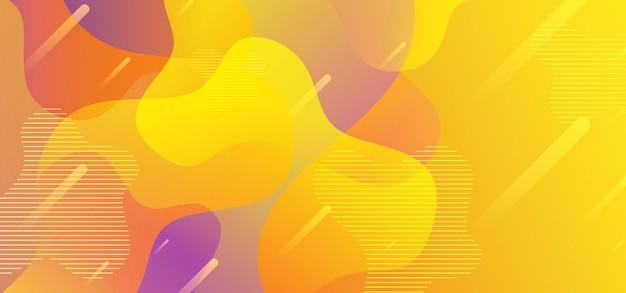 Abstracte vloeibare vormen als achtergrond met gele stroom vloeibare gradiënt