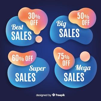 Abstracte vloeibare vormen verkoop banner set