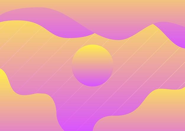 Abstracte vloeiende gele, violette achtergrond met kleurovergang