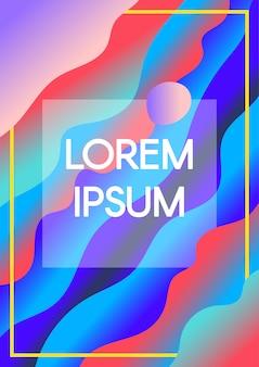 Abstracte vloeiende golven met tekst frame grenzen achtergrond met kleurovergang