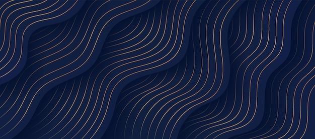 Abstracte vloeiende golvende vormlagen op een donkere marineblauwe achtergrond met luxe gouden lijnen versieren lines