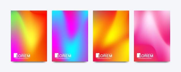 Abstracte vloeiende vormen vector trendy vloeibare kleur achtergrond instellen in a4-formaat.