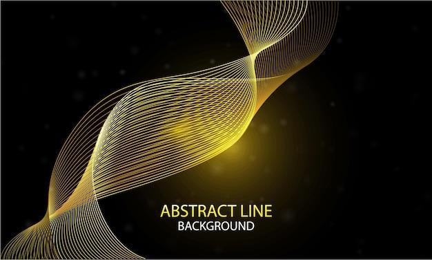 Abstracte vlotte achtergrond met gouden dynamische lineaire golven op donkere achtergrond