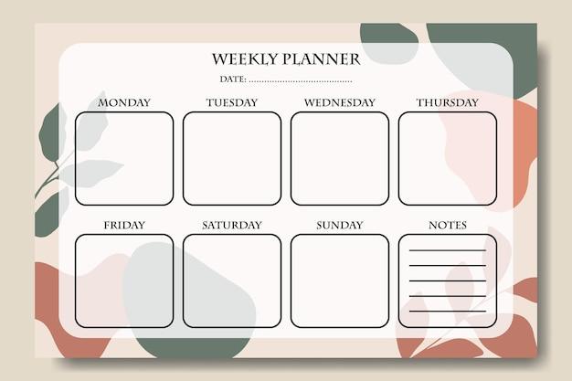 Abstracte vorm en blad wekelijkse planner sjabloon afdrukbaar