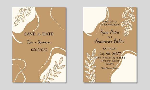 Abstracte vorm met blad bruiloft uitnodigingskaart