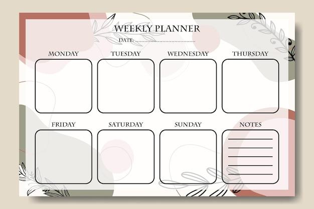 Abstracte vorm met blad wekelijkse planner sjabloon afdrukbare premium vector