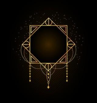 Abstracte vorm met glanzende gouden rand en deeltjes