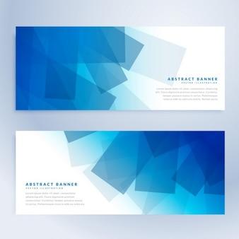 Abstracte vormen banners in blauwe kleur