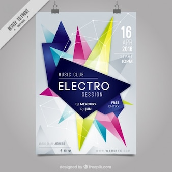 Abstracte vormen electro party poster