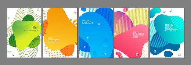 Abstracte vormenkaarten. reclamebanners, eigentijdse heldere flyers-sjabloon. memphis elementen vector achtergrond. illustratiebanner geometrisch trendy, gekleurd abstract patroon