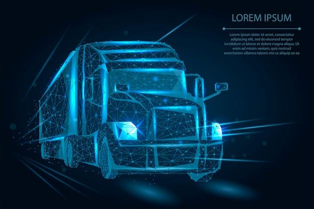 Abstracte vrachtwagen bestaande uit punten, lijnen en vormen. zware vrachtwagen van op snelweg weg