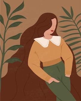 Abstracte vrouw en laat silhouetten in boho-stijl
