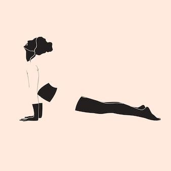 Abstracte vrouw minimalisme yoga pose