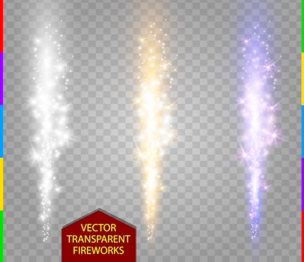 Abstracte vuurwerk set. fontein van vonken licht speciaal effect. sprankelende pilaar van vuur witte, gouden en paarse kleur op transparante achtergrond. kerstverlichting collectie.