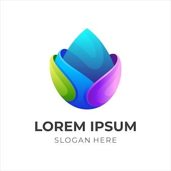 Abstracte waterdruppel logo vector, moderne stijl kleurrijk