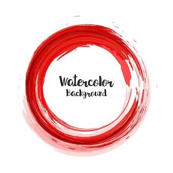 Abstracte waterverfachtergrond in rode cirkel