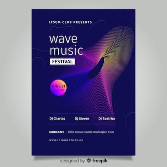 Abstracte wave muziek poster sjabloon