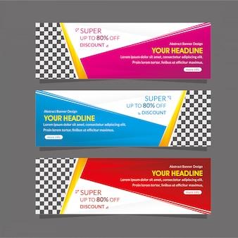 Abstracte web banner sjabloon speciale super korting aanbieding verkoop promotie