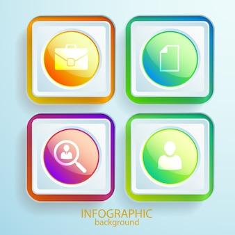 Abstracte webinfographics met pictogrammen bedrijfs rond glanzende knoppen en kleurrijke vierkante kaders