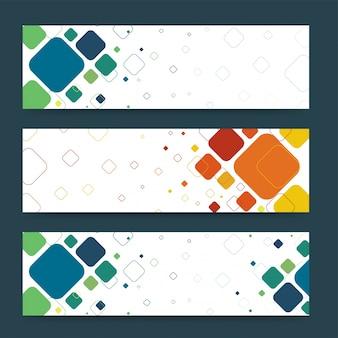 Abstracte website banners met kleurrijke vierkanten.