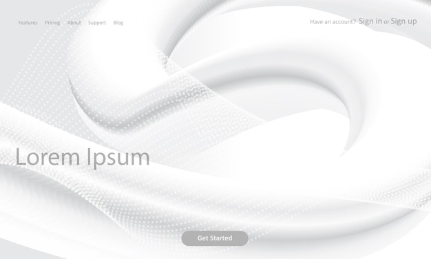 Abstracte website-bestemmingspagina met een monochroom 3d-ontwerp