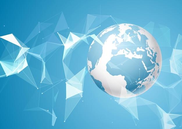 Abstracte wereldachtergrond met laag polyontwerp Premium Vector