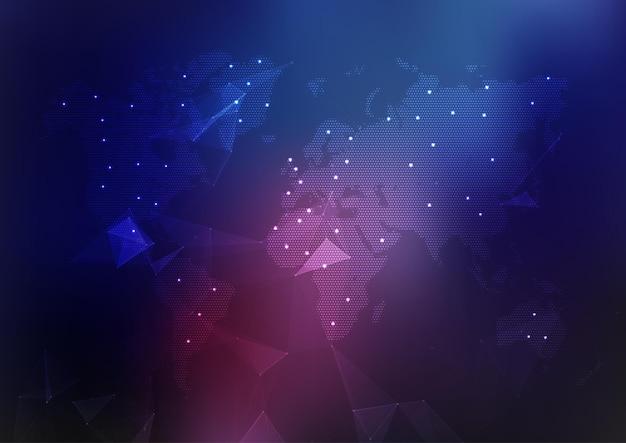 Abstracte wereldkaart achtergrond met verbindingslijnen en punten Gratis Vector
