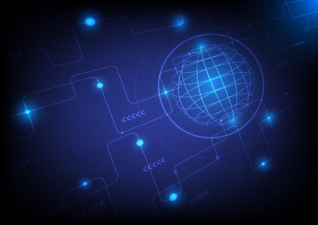 Abstracte wereldwijde cybertechnologie en netwerk