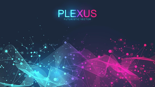 Abstracte wetenschappelijke achtergrond met dynamische deeltjes, golfstroom. plexus stroom achtergrond. 3d datavisualisatie met fractal elementen. cyberpunk-stijl. digitale vectorillustratie.