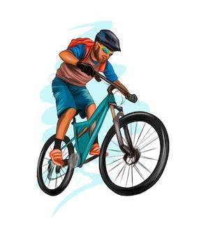 Abstracte wielrenner op een racebaan van splash van aquarellen gekleurde tekening atleet op een fiets