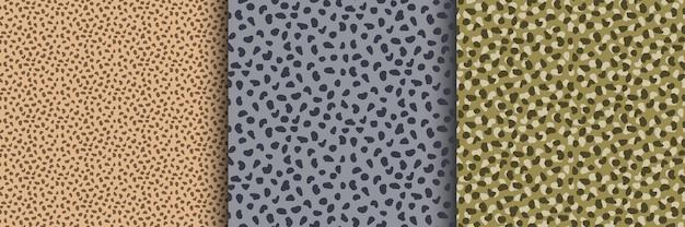 Abstracte wilde kat naadloze patroon set