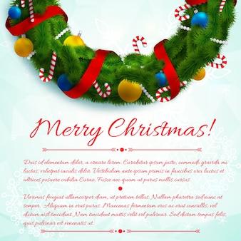 Abstracte winter vieren sjabloon met groene krans groet tekst en kleurrijke decoraties