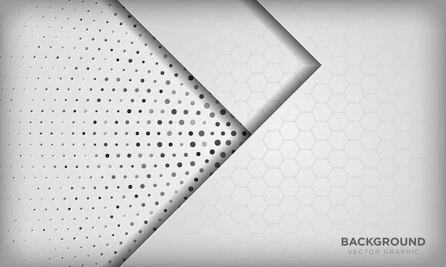 Abstracte witte dimensie overlappen achtergrond met zeshoek patroon op zilveren radiale halftoon.