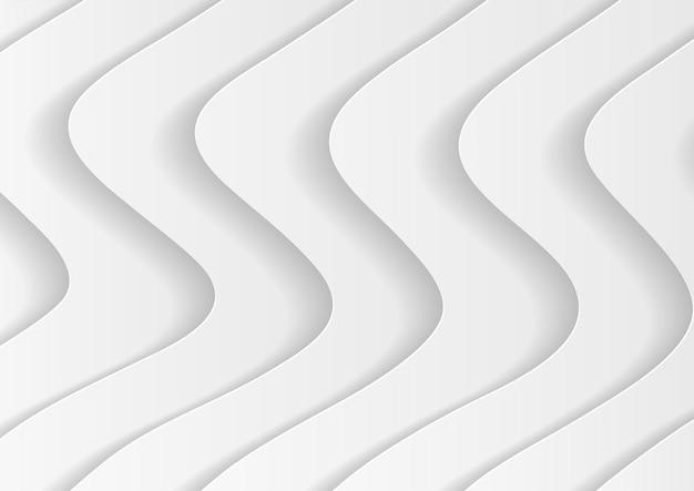 Abstracte witte golfachtergrond met papercutstijl, abstracte achtergrond in witte en grijze tinten