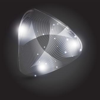 Abstracte witte mesh driehoek vorm met glitters op zwart