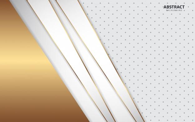 Abstracte witte overlappingsachtergrond met gouden lijn